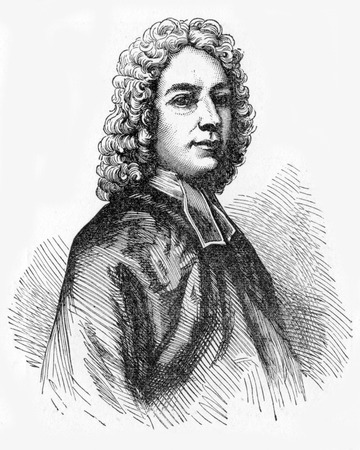 hymn: Isaac Watts (1674 - 1748), English hymnwriter, theologian and logician. A prolific and popular hymn writer, he was recognized as the Father of English Hymnody, credited with some 750 hymns. Engraving from Selections from the Journal of John Wesley, 1891 Editorial
