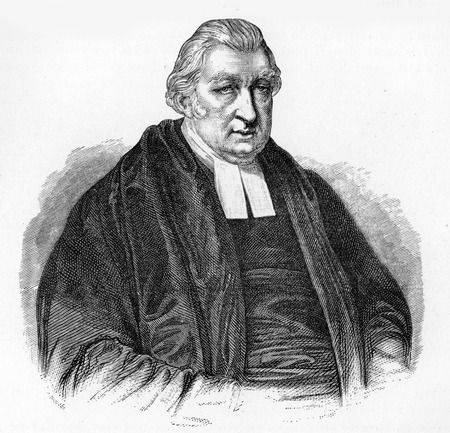 wesley: Rowland Hill (1744–1833), popular English preacher, enthusiastic evangelical and founder of the Surrey Chapel, London; chairman of the Religious Tract Society; engraving from Selections from the Journal of John Wesley, 1891