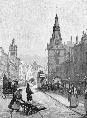 wesley: Street scene from 18th Century Glasgow, engraving from Selections from the Journal of John Wesley, 1891