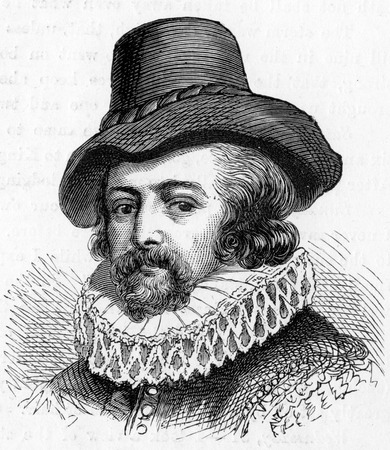 bacon portrait: Sir Francis Bacon, 1st Viscount St. Alban,Peltonen (1561 -1626) English philosopher and statesman, engraving from Selections from the Journal of John Wesley, 1891