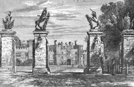 wesley: Hampton Court, a royal palace in the London Borough of Richmond upon Thames, Greater London, in the historic county of Middlesex; engraving from Selections from the Journal of John Wesley, 1891