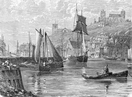 wesley: port of Whitby, engraving from Selections from the Journal of John Wesley, 1891
