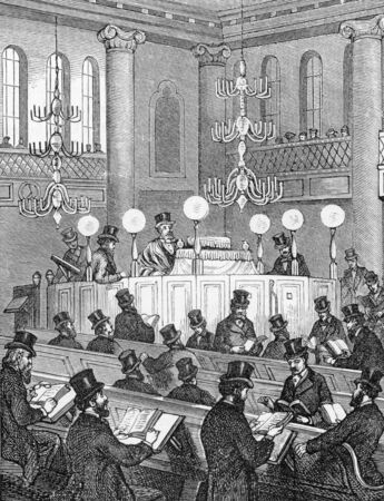 Inside a 'modern' synagogue - in 18th century Britain, engraving from Selections from the Journal of John Wesley, 1891