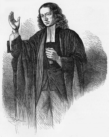 wesley: portait of John Wesley preaching at the age of 63,  engraving from Selections from the Journal of John Wesley, 1891