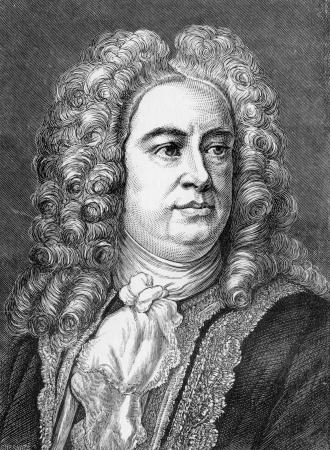George Frideric Handel (Duits: Georg Friedrich Händel, 1685-1759) was een Duits-Geboren Britse barok componist beroemd om zijn opera's, oratoria, anthems en orgelconcerten; gravure uit Selecties uit het Dagboek van John Wesley, 1891 Redactioneel