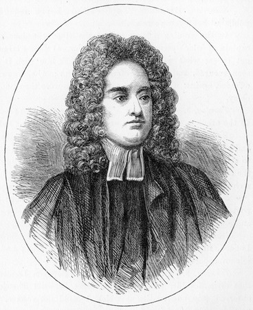 Jonathan Swift (1667 - 1745) Anglo-Irish satirist, essayist, political pamphleteer (first for the Whigs, then for the Tories), poet and cleric who became Dean of St Patricks Cathedral, Dublin; engraving from Selections from the Journal of John Wesley, 18 Editorial