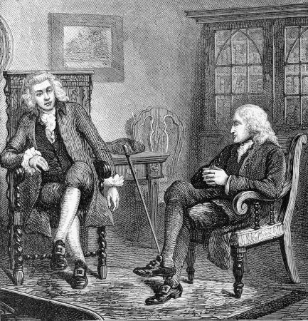 wesley: Preacher John Wesley in discussion with anti-slavery politician Wilberforce, engraving from Selections from the Journal of John Wesley, 1891