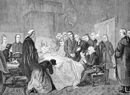 wesley: Preacher John Wesley on his deathbed, from a painting by Marshall Claxton, engraving from Selections from the Journal of John Wesley, 1891 Editorial