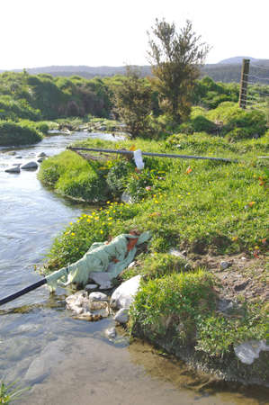 landuse: Unacceptable state of waterway near a dairy Stock Photo
