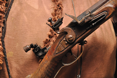 flintlock:  mechanism of a blackpowder flintlock rifle Stock Photo