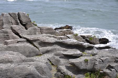 weathering: Limestone formations at Pancake Rocks, Punakaiki, West Coast, South Island, New Zealand