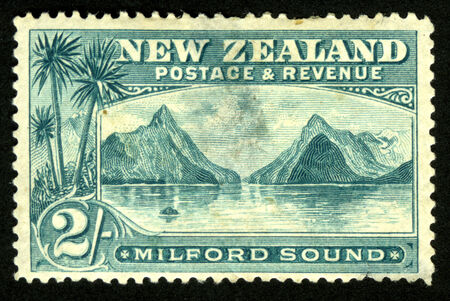 shilling: Mitre Peak and Milford Sound, Fiordland, New Zealand, featured on 1898 two shilling stamp Editorial