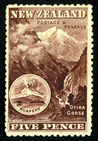 pictorial: 1898 New Zealand five pence pictorial stamp featuring Otira Gorge, Westland, New Zealand