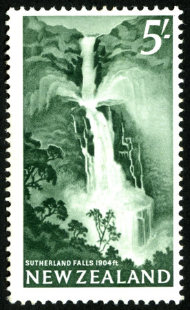 Sutherland Falls, Fiordland, New Zealand, featured on 1960 five shilling stamp