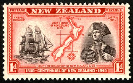 1940 een cent stempel met Captain James Cook voor Centennial van Nieuw-Zeeland Redactioneel