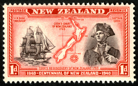 1940 one penny stamp featuring Captain James Cook for New Zealand's Centennial