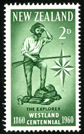 pioneering: 1960 two pence New Zealand stamp featuring a West Coast explorer for the Westland Centennial