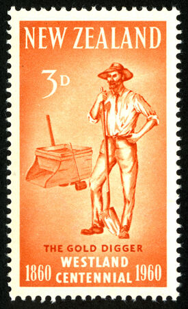 prospector: 1960 three pence New Zealand stamp featuring a West Coast gold prospector for the Westland Centennial