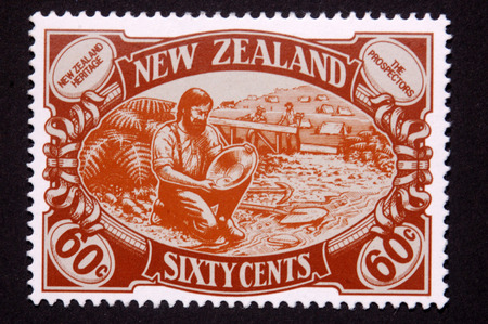 prospector: 1989 60 cent stamp featuring a gold prospector in New Zealand Editorial