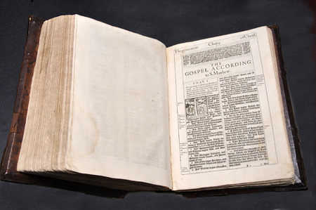 king james: 1611 Edition of the King James Version of the Holy Bible, open at the first page of the New Testament. From the Reed Rare Books Collection at Dunedin Public Library, Dunedin, New Zealand.