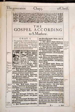 1611 Edition of the King James Version of the Holy Bible, open at the first page of the New Testament. From the Reed Rare Books Collection at Dunedin Public Library, Dunedin, New Zealand.