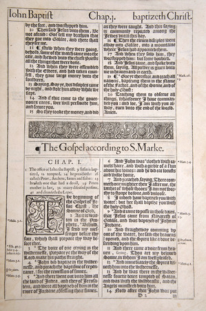 gospels: 1611 Edition of the King James Version of the Holy Bible, open at the first page of the Gospel of Mark in the New Testament. From the Reed Rare Books Collection at Dunedin Public Library, Dunedin, New Zealand. Editorial