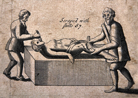 Illustration from a 1583 edition of Foxes Book of Martyrs, showing Papists torturing Protestants, in this case by scraping their bodies with shells.