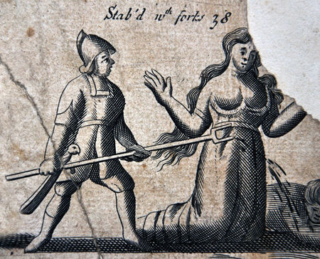 Illustration from a 1583 edition of Foxes Book of Martyrs, showing Papists torturing Protestants, in this case by being stabbed with a fork.