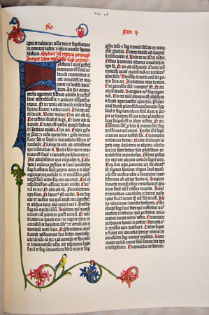 page from a facsimile of the 1455 Gutenberg Bible, the first printed version of the Latin Vulgate.