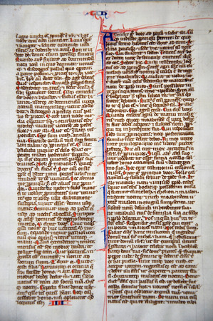 vellum: Page from a 13th Century Latin Vulgate Bible, written in England on vellum. (Fragment 5) From the Reed Rare Books Collection in Dunedin, New Zealand.