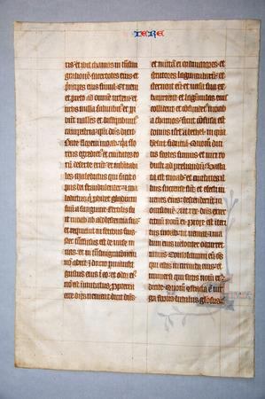 vellum: Page from a 14th Century Latin Vulgate Bible, (Book of Jeremiah) written in England on vellum. (Fragment 13) From the Reed Rare Books Collection in Dunedin, New Zealand.