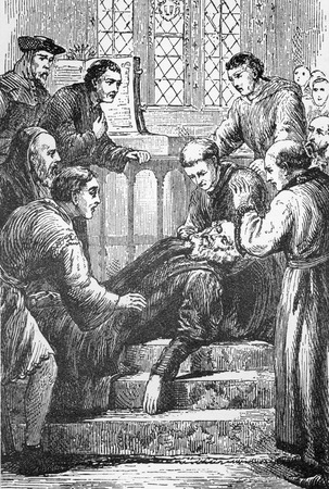 pioneering: Line drawing of the death of pioneering English Bible Translator and Reformer, John Wycliffe.
