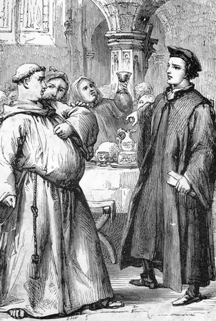Line drawing of William Tyndale (right) making his famous statement to a fat friar that the plowboy will soon know more of the scriptures than the Roman clergy. Tyndale went on to translate the first English New Testament from Greek texts.