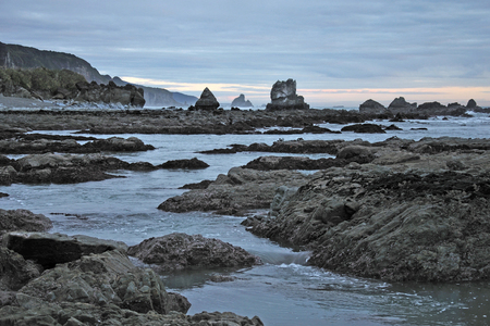 westland: low tide at Twelve Mile Beach near Greymouth, Westland, South Island, New Zealand Stock Photo
