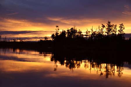 peacefulness: Sunset over Lake Brunner, Westland, South Island, New Zealand