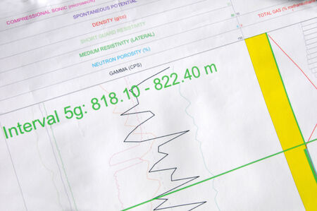 printout of seismic and other logged data for oil well Stock Photo