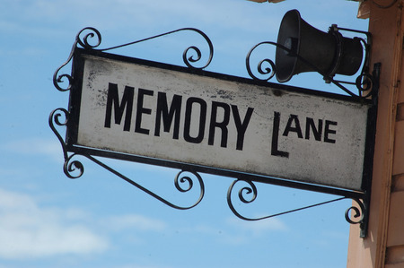 ornate street sign for Memory Lane, Shantytown, Westland, New Zealand Stok Fotoğraf - 28799030