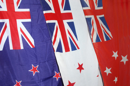 treaties: New Zealand flag with white and red ensigns