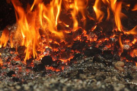 clinker: Coal fire inside steam boiler Stock Photo