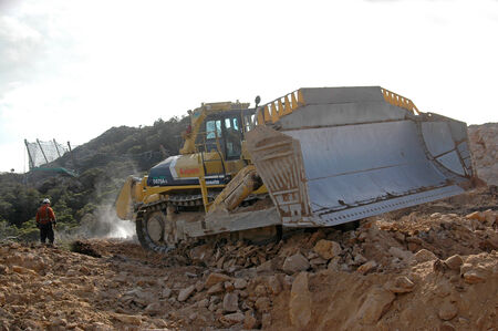 Worlds biggest bulldozer ripping overburden at Stockton Coal Mine, West Coast, South Island, New Zealand