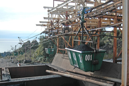 conveyors: WESTPORT, NEW ZEALAND, CIRCA 2007: Buckets on the aerial ropeway carry coal down to the the railway terminal at Stockton Coal Mine, West Coast, South Island, New Zealand Editorial