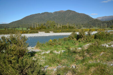 westland: Site for the construction of a concrete bridge over a small river in Westland, New Zealand