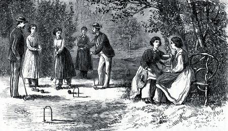 communistic: Escena de la comunidad de Oneida en 19th Century EE.UU., el grabado de la Sociedades comunistas de los Estados Unidos, por Charles Nordoff, 1875.