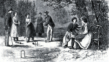 Scene from the Oneida community in 19th Century USA, engraving from The Communistic Societies of the United States, by Charles Nordoff, 1875.