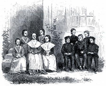 communistic: Grupo de ni�os Shkaer en 19th Century EE.UU., el grabado de las sociedades comunistas de los Estados Unidos, por Charles Nordoff, 1875 A pesar de los Shakers eran una sociedad c�libe, adoptaron los hu�rfanos en su grupo.