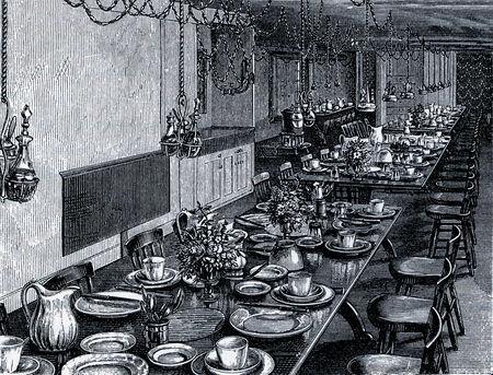 communistic: Escena en un comedor Shaker en 19th Century EE.UU., el grabado de las sociedades comunistas de los Estados Unidos, por Charles Nordoff, 1875 Editorial