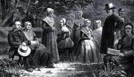 christian community: Shaker men and women in traditional costumes in 19th Century USA, engraving from The Communistic Societies of the United States, by Charles Nordoff, 1875 Editorial