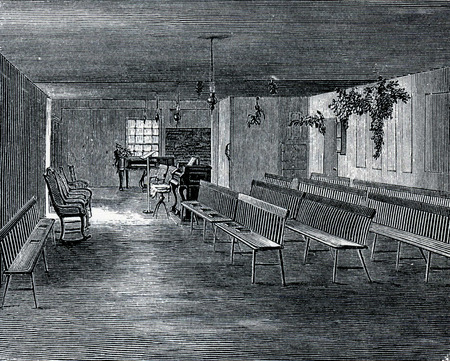 communistic: Scene in a Shaker music hall in 19th Century USA, engraving from The Communistic Societies of the United States, by Charles Nordoff, 1875