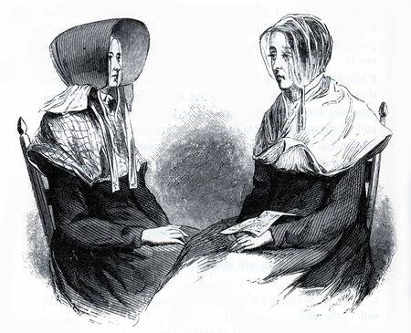 communistic: Las mujeres de la coctelera en trajes tradicionales en 19th Century EE.UU., el grabado de la Sociedades comunistas de los Estados Unidos, por Charles Nordoff, 1875