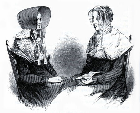 communistic: Shaker women in traditional costumes in 19th Century USA, engraving from The Communistic Societies of the United States, by Charles Nordoff, 1875 Editorial